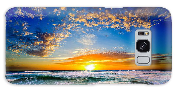 Orange And Blue Sunset Sun Setting Over The Ocean Galaxy Case by Eszra Tanner