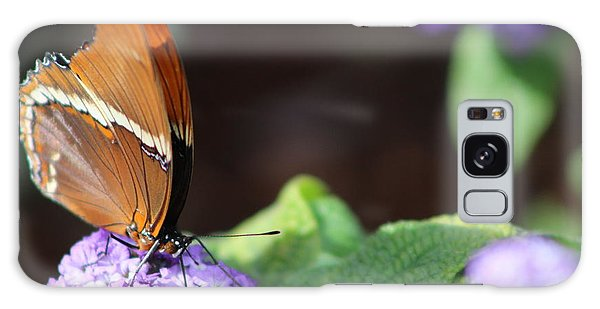 Orange And Brown Butterfly On Purple Galaxy Case