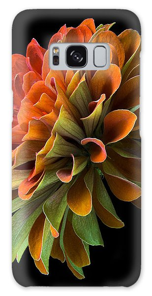 Orange And Green Zinnia  Galaxy Case by Jim Hughes