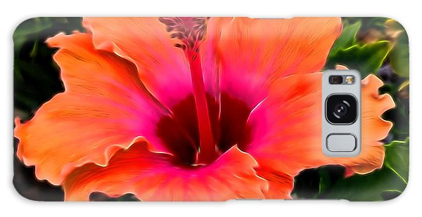 Orange And Pink Hibiscus 2 Galaxy Case