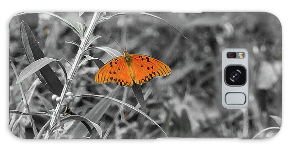 Orange Butterfly In Black And White Background Galaxy Case