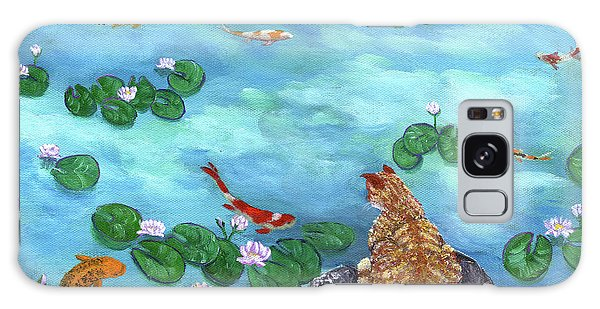 Tabby Galaxy Case - Orange Cat At Koi Pond by Laura Iverson