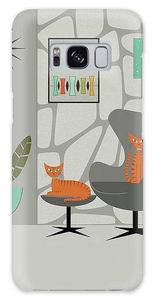 Orange Cat In Gray Stone Wall Galaxy Case