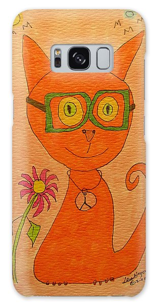 Orange Cat With Glasses Galaxy Case