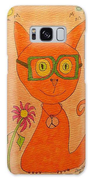 Orange Cat With Glasses Galaxy Case