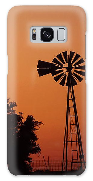 Orange Dawn With Windmill Galaxy Case