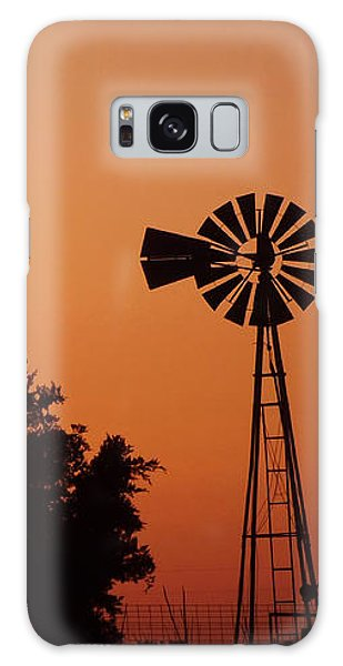 Galaxy Case featuring the photograph Orange Dawn With Windmill by Shelli Fitzpatrick