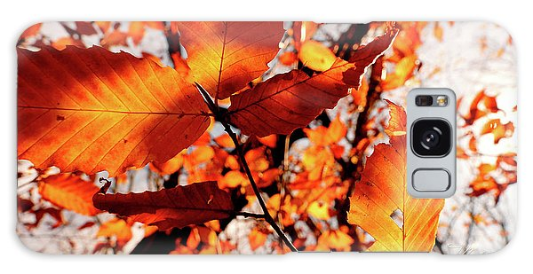 Orange Fall Leaves Galaxy Case