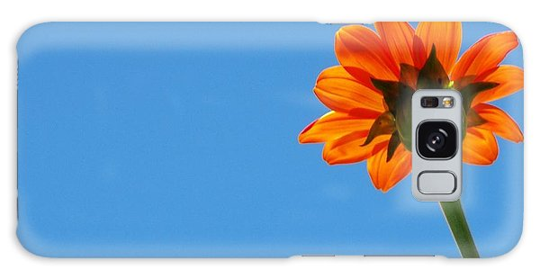 Orange Flower On Blue Sky Galaxy Case