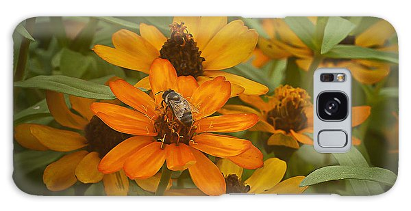 Orange Flowers And Bee Galaxy Case