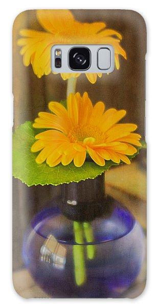 Orange Flowers Blue Vase Galaxy Case