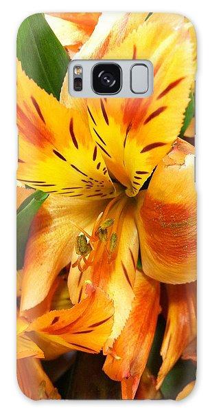 Orange Flowers Galaxy Case by Carlos Avila