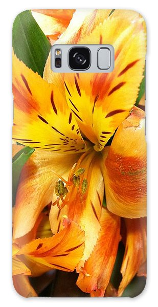 Orange Flowers Galaxy Case by Carlos Avila