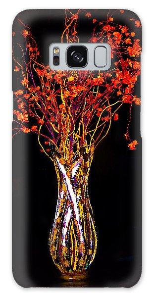 Orange Flowers In Vase Galaxy Case