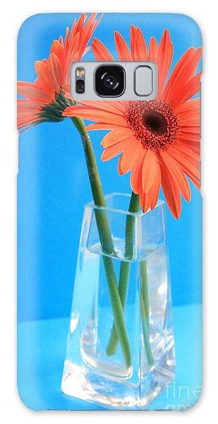 Orange Gerberas In A Vase - Aqua Background Galaxy Case