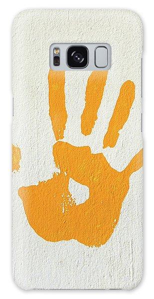 Orange Handprint On A Wall Galaxy Case