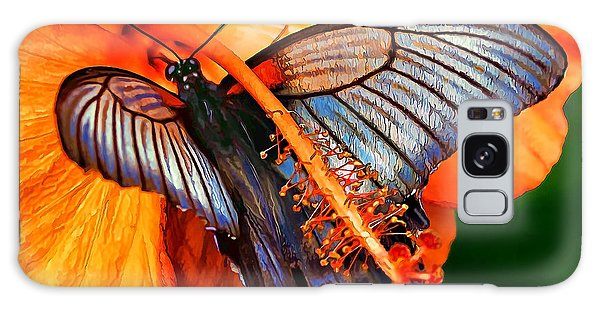 Orange Hibiscus Butterfly Galaxy Case by ABeautifulSky Photography