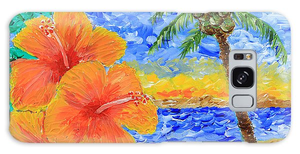 Orange Hibiscus Coconut Tree Sunrise Tropical Beach Painting Galaxy Case