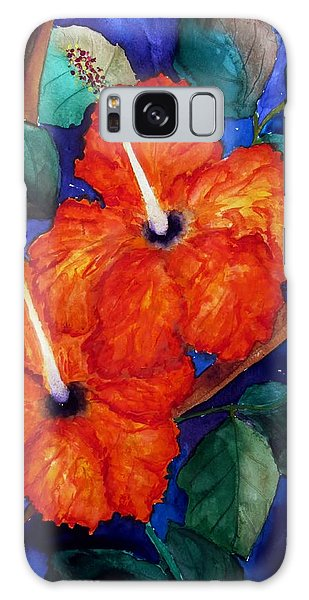 Orange Hibiscus Galaxy Case by Lil Taylor