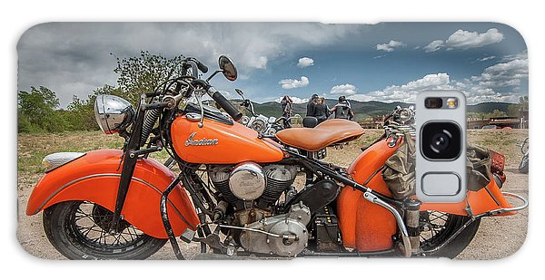 Galaxy Case featuring the photograph Orange Indian Motorcycle by Britt Runyon