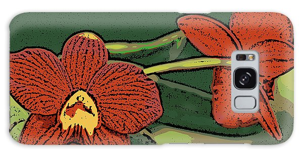 Orange Orchids Galaxy Case by Ann Tracy