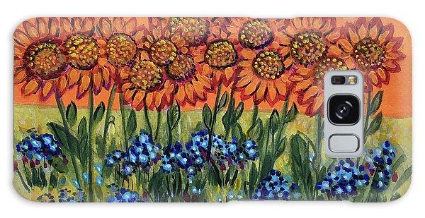 Orange Sunset Flowers Galaxy Case