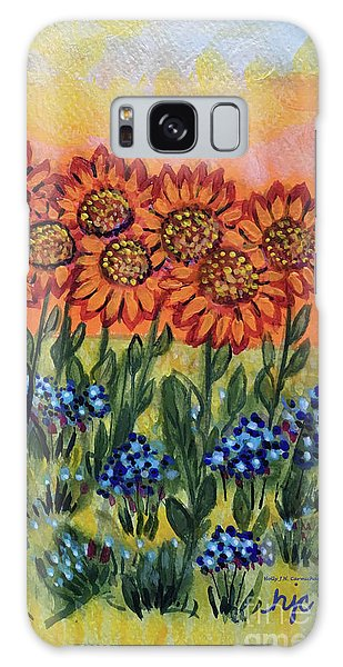 Orange Sunset Flowers Galaxy Case