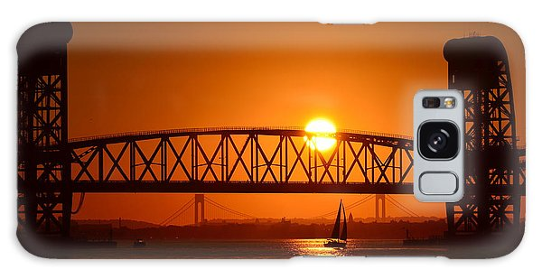 Orange Sunset Brooklyn Bridges Sailboat Galaxy Case