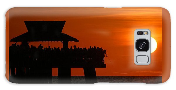 Orange Sunset In Naples Galaxy Case