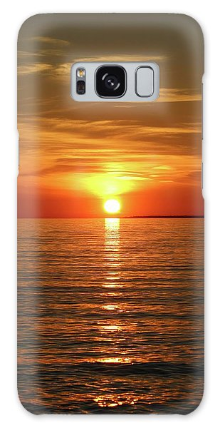 Orange Sunset Lake Superior Galaxy Case