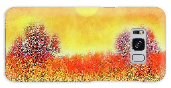 Orange Sunset Shimmer - Field In Boulder County Colorado Galaxy Case
