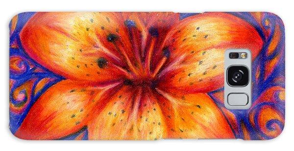 Orange Tiger Lily Drawing Galaxy Case