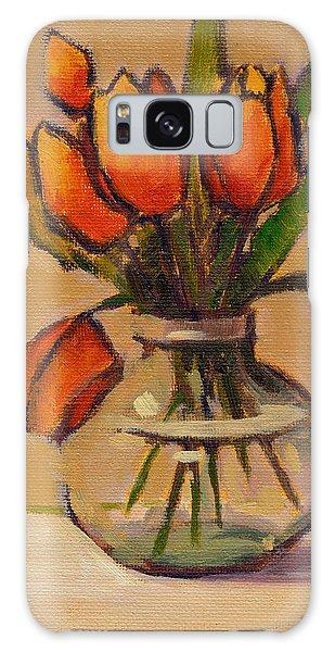 Orange Tulips Galaxy Case