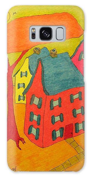 Orange Umbrella Tree And Three Homes Galaxy Case