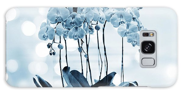 Orchid Flowers Blue Tone Galaxy Case by Charline Xia