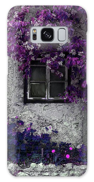 Orchid Vines Window And Gray Stone Galaxy Case