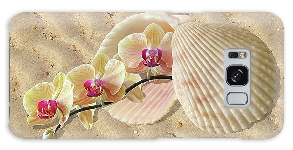 Orchids And Shells On The Beach Galaxy Case by Gill Billington