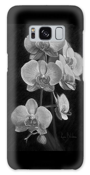 Orchids - Black And White Galaxy Case by Lucie Bilodeau