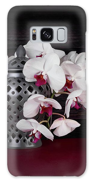 Orchid Galaxy S8 Case - Orchids With Gray Ginger Jar by Tom Mc Nemar