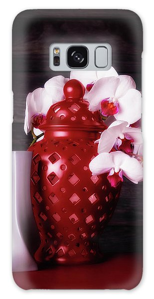 Orchid Galaxy S8 Case - Orchids With Red And Gray by Tom Mc Nemar