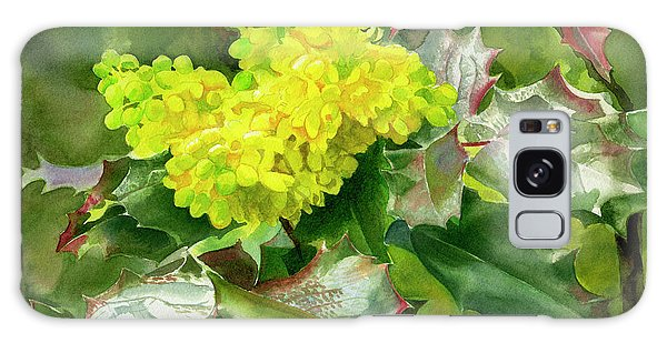 Oregon Grape Blossoms With Leaves Galaxy Case