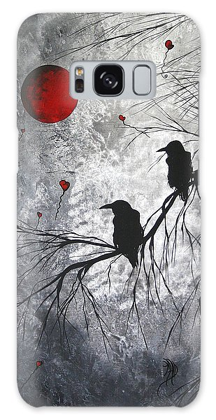 Original Abstract Surreal Raven Red Blood Moon Painting The Overseers By Madart Galaxy Case