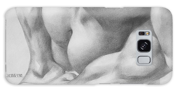 Original Charcoal Drawing Art Gay Interest Men  On Paper #16-3-11 Galaxy Case by Hongtao Huang