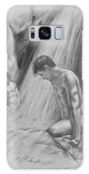 Original Charcoal Drawing Art Male Nude By Twaterfall On Paper #16-3-11-16 Galaxy Case