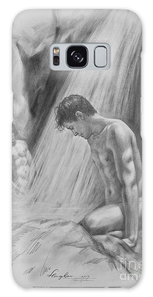 Original Charcoal Drawing Art Male Nude By Twaterfall On Paper #16-3-11-16 Galaxy Case by Hongtao Huang