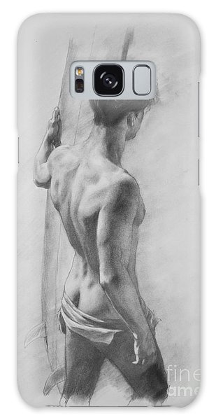 Original Charcoal Drawing Art Male Nude  On Paper #16-3-11-12 Galaxy Case by Hongtao Huang