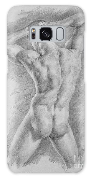 Original Charcoal Drawing Art Male Nude  On Paper #16-3-11-25 Galaxy Case by Hongtao Huang