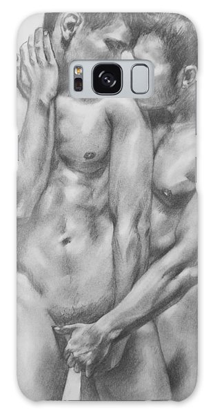 Original Charcoal Drawing Male Nude Gay Interest Man On Paper #6-30-5 Galaxy Case by Hongtao     Huang