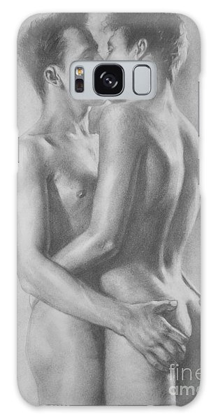 Original Drawing Sketch Charcoal Boy  Gay Interest Male Nude Man Art Pencil On Paper -0042 Galaxy Case by Hongtao     Huang