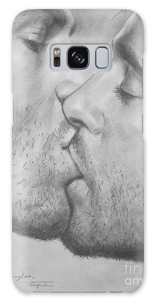 Original Drawing Sketch Charcoal Chalk Gay Man Art - Kiss Pencil On Paper -025 Galaxy Case